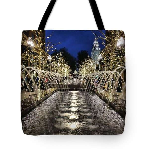 Tote Bag featuring the photograph City Creek Fountain - 2 by Ely Arsha