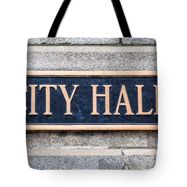 City Hall Municipal Sign In Chicago Tote Bag by Paul Velgos