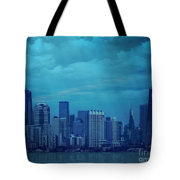 City In Blue Tote Bag by Bedros Awak