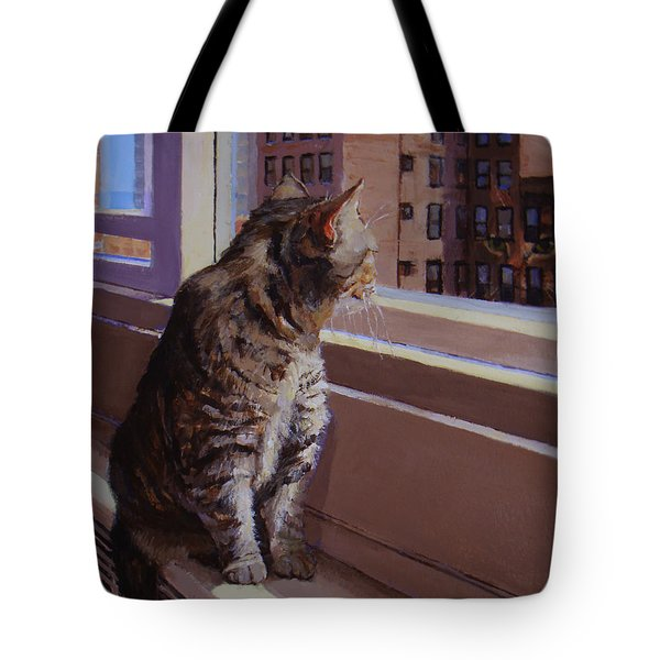 City Kitty Enjoys Her View Tote Bag