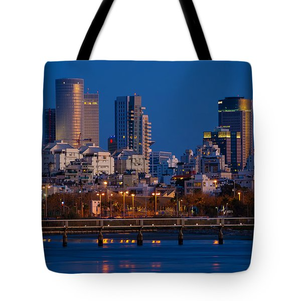 city lights and blue hour at Tel Aviv Tote Bag