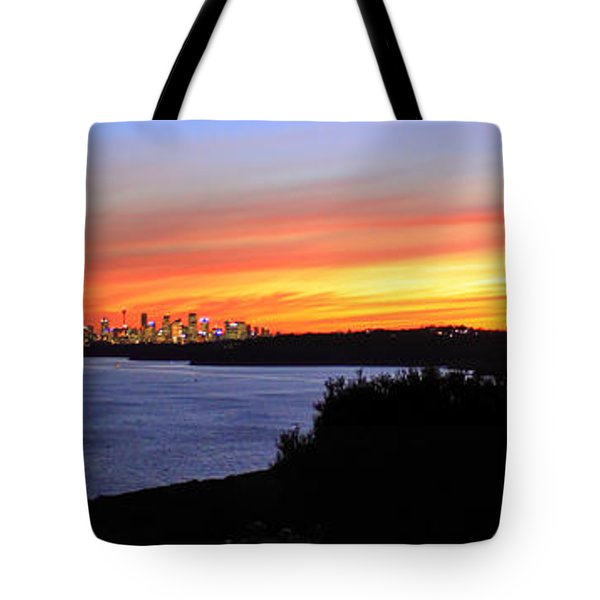 Tote Bag featuring the photograph City Lights In The Sunset by Miroslava Jurcik
