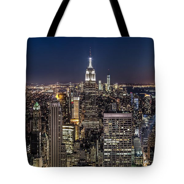 Tote Bag featuring the photograph City Lights by Mihai Andritoiu