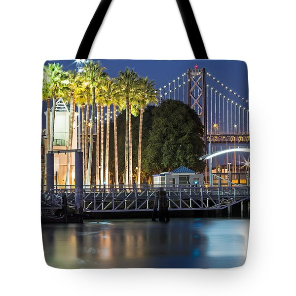 Tote Bag featuring the photograph City Lights On Mission Bay by Kate Brown