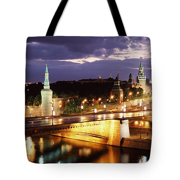 City Lit Up At Night, Red Square Tote Bag by Panoramic Images