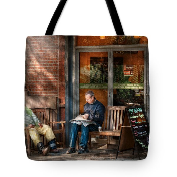 City - New York - Greenwich Village - The Path Cafe  Tote Bag by Mike Savad
