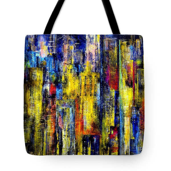 Tote Bag featuring the painting City Nightime Metropolis by Katie Black