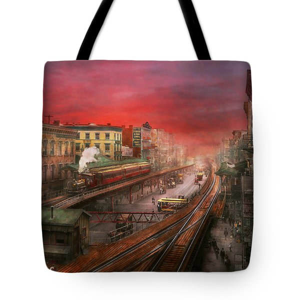 City - Ny - Rush Hour Traffic - 1900 Tote Bag