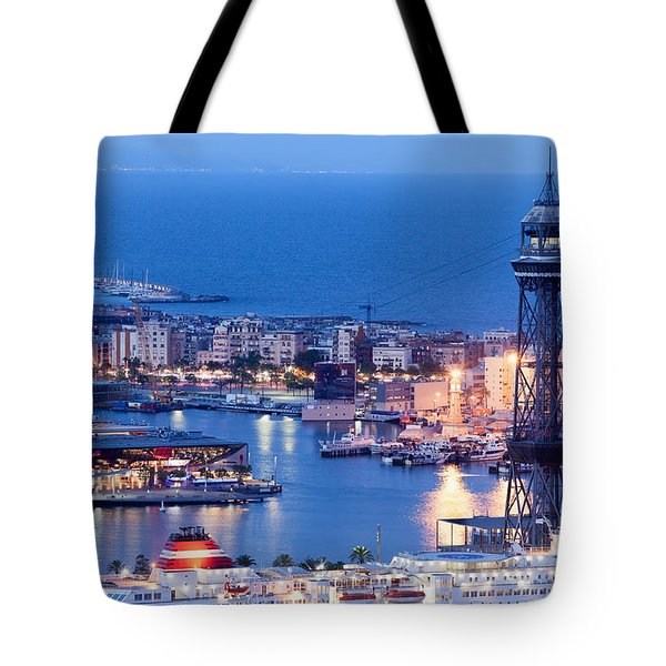 City Of Barcelona From Above At Night Tote Bag