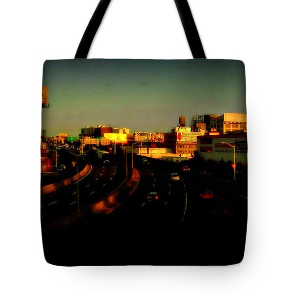 Tote Bag featuring the photograph City Of Gold - New York City Sunset With Water Towers by Miriam Danar