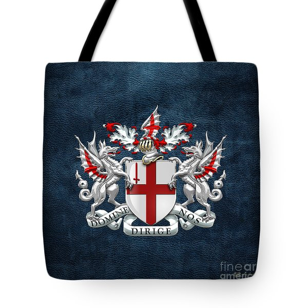 City Of London - Coat Of Arms Over Blue Leather  Tote Bag