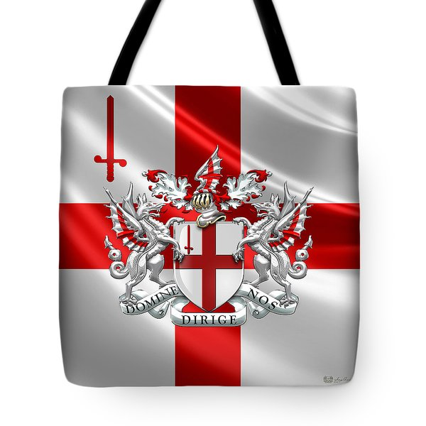 City Of London - Coat Of Arms Over Flag  Tote Bag