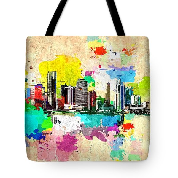 City Of Miami Grunge Tote Bag