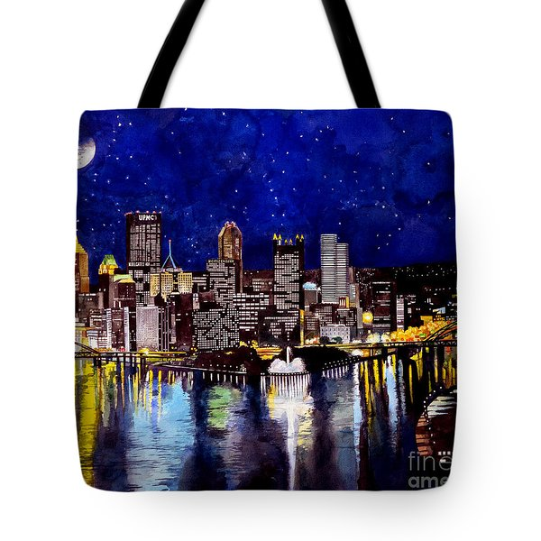 City Of Pittsburgh At The Point Tote Bag by Christopher Shellhammer