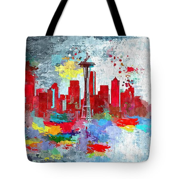 City Of Seattle Grunge Tote Bag