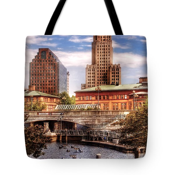 City - Providence Ri - The Skyline Tote Bag by Mike Savad