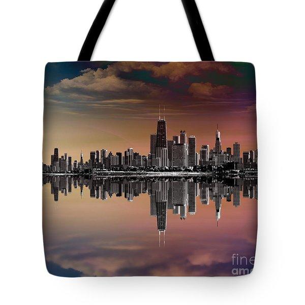 City Skyline Dusk Tote Bag by Bedros Awak