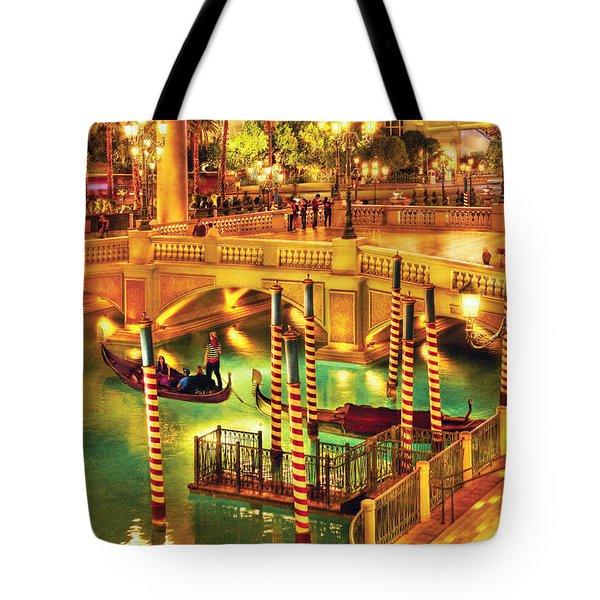 City - Vegas - Venetian - The Venetian At Night Tote Bag by Mike Savad