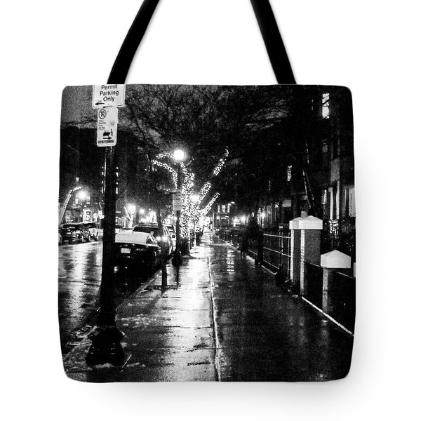 Tote Bag featuring the photograph City Walk In The Rain by Mike Ste Marie