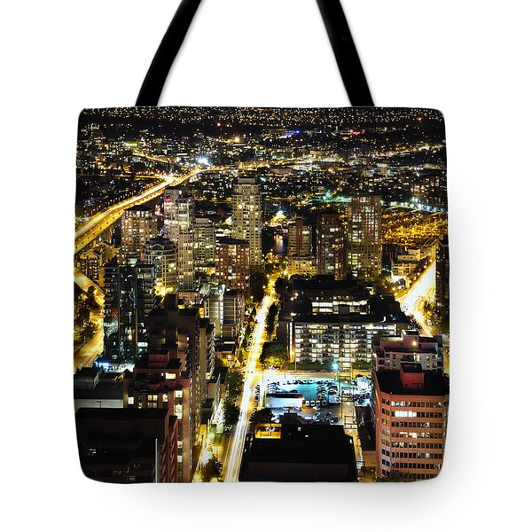 Tote Bag featuring the photograph Cityscape Golden Burrard Bridge Mdlxiv by Amyn Nasser