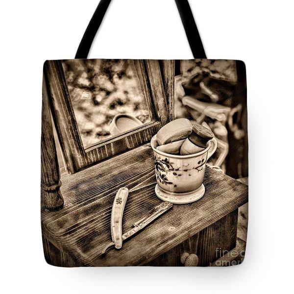 Civil War Shaving Mug And Razor Black And White Tote Bag by Paul Ward