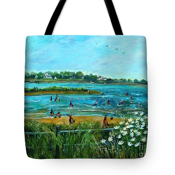 Tote Bag featuring the painting Clam Diggers At Menauhant Beach by Rita Brown