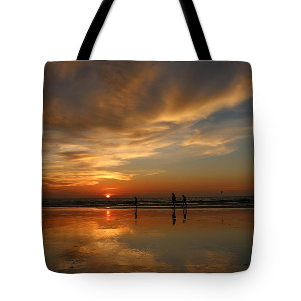 Clam Digging At Sunset -1  Tote Bag
