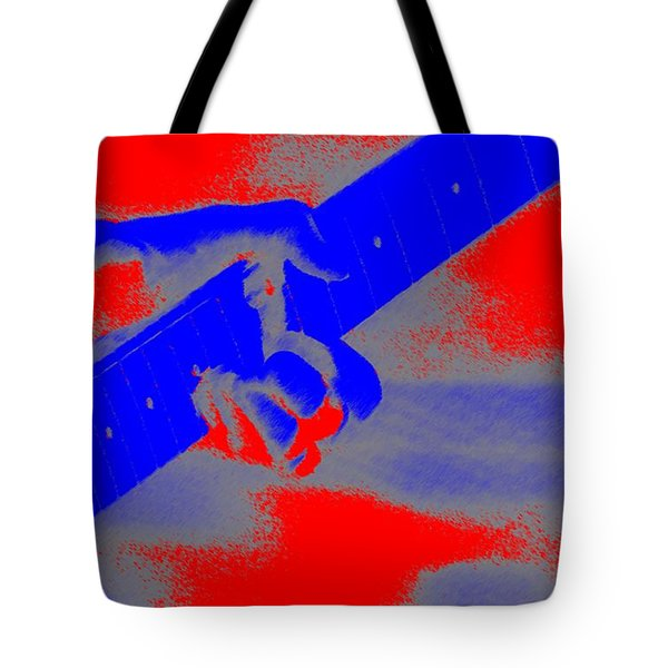 Clapton Plays Guitar Tote Bag by George Pedro