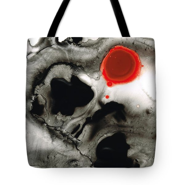 Clarity - Black And White Art Red Painting Tote Bag by Sharon Cummings