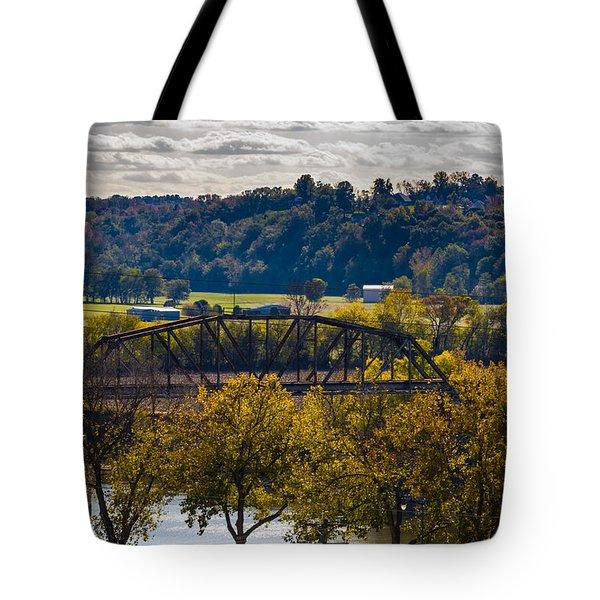 Clarksville Railroad Bridge Tote Bag by Ed Gleichman