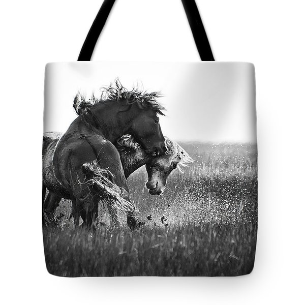Clash Of Two Wild Stallions Tote Bag