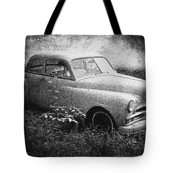 Clasic Car - Pen And Ink Effect Tote Bag by Brian Wallace