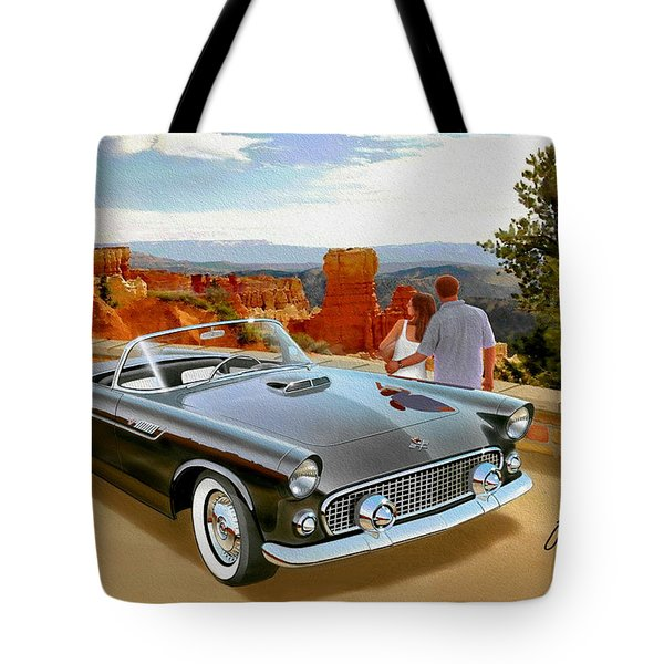 Classic 1955 Thunderbird At Bryce Canyon Black  Tote Bag