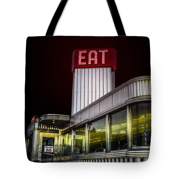 Classic American Diner At Night Tote Bag by Diane Diederich