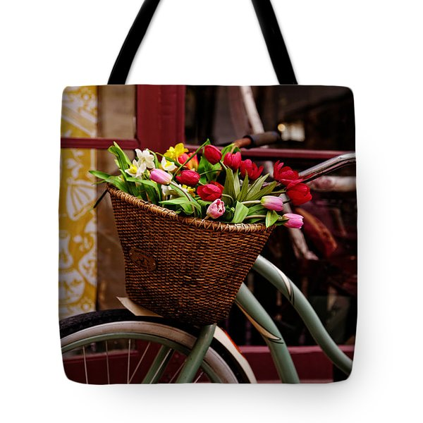 Classic Bike With Tulips Tote Bag