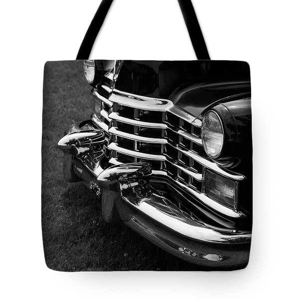 Classic Cadillac Sedan Black And White Tote Bag by Edward Fielding