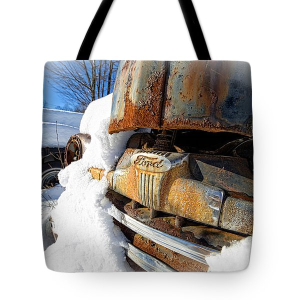 Classic Ford Pickup Truck In The Snow Tote Bag by Edward Fielding