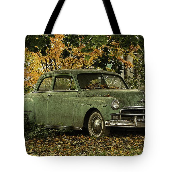 Tote Bag featuring the photograph Classic Green Plymouth Sedan by Betty Denise