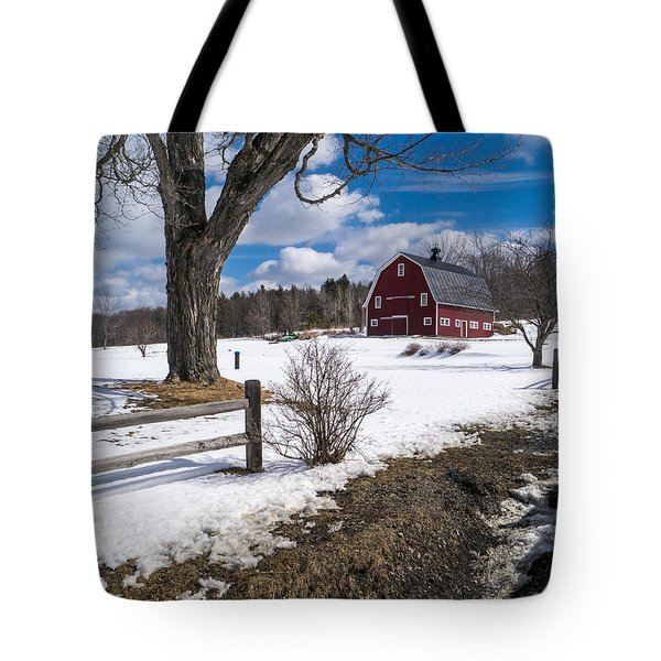 Classic New England Farm Scene Tote Bag
