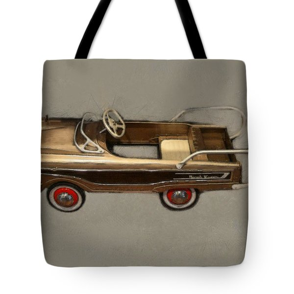 Classic Ranch Wagon Pedal Car Tote Bag by Michelle Calkins