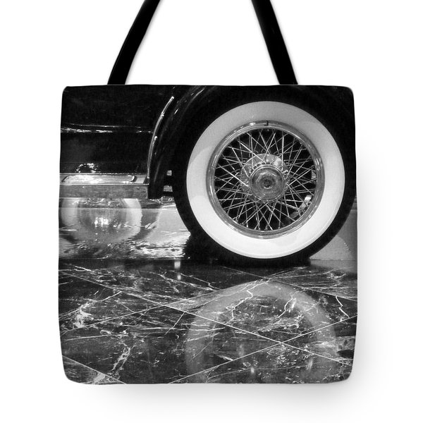 Tote Bag featuring the photograph Classic Wheels Blk And Wht by Cheryl Del Toro