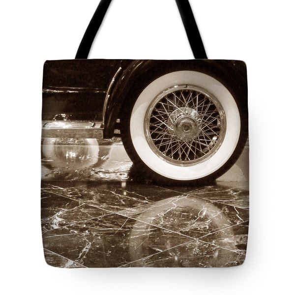 Tote Bag featuring the photograph Classic Wheels Sepia by Cheryl Del Toro