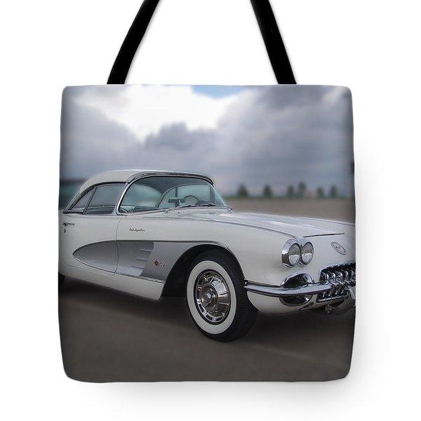 Classic White Corvette Tote Bag by Chris Thomas