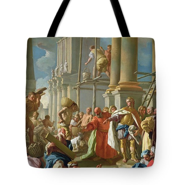 Classical Construction Scene Oil On Panel Tote Bag
