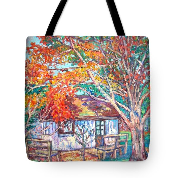 Claytor Lake Cabin In Fall Tote Bag