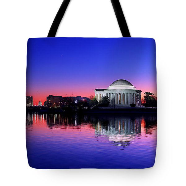 Clear Blue Morning At The Jefferson Memorial Tote Bag