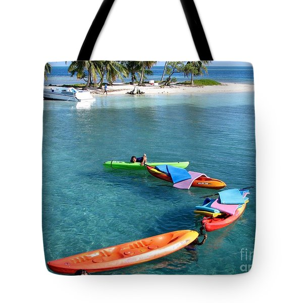 Clear Blue Water And Island Tote Bag by Eva Kaufman