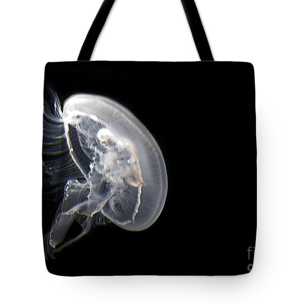 Clear Jelly Fish In Dark Water Art Prints Tote Bag