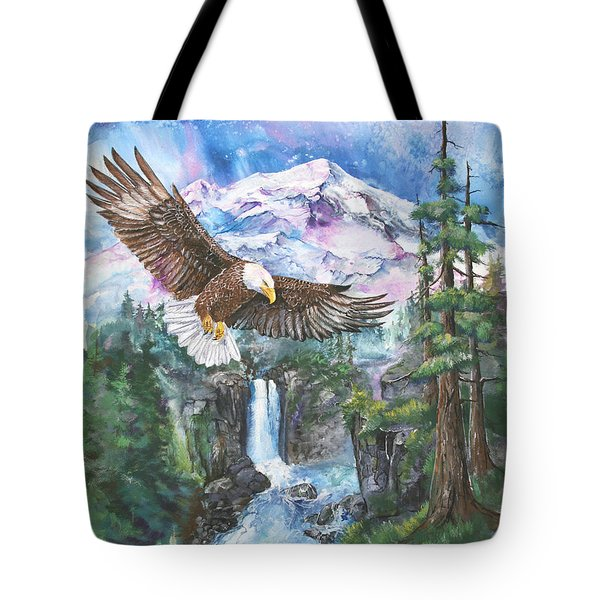 Tote Bag featuring the painting Cleared For Landing Mount Baker by Sherry Shipley