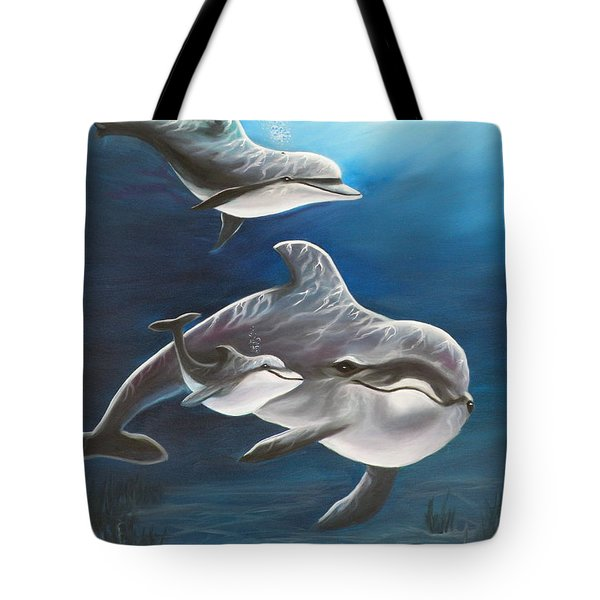 Clearwater Beach Dolphins Tote Bag